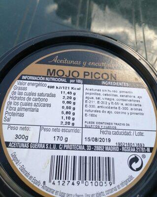 Aceitunas y encurtidos mojo picón - Nutrition facts - es