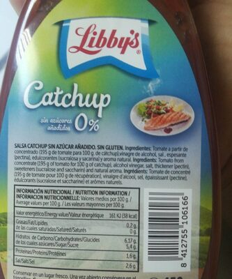 Ketchup libbys sin azúcares añadidos 0% - Nutrition facts
