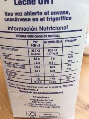 LECHE GALLEGA CLASICA ENTERA BRICK-1 LITRO - Ingredientes - fr