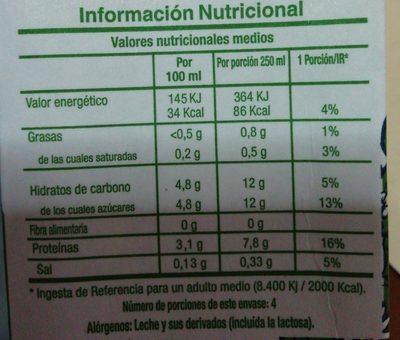 Leche desnatada de Galicia - Información nutricional - es
