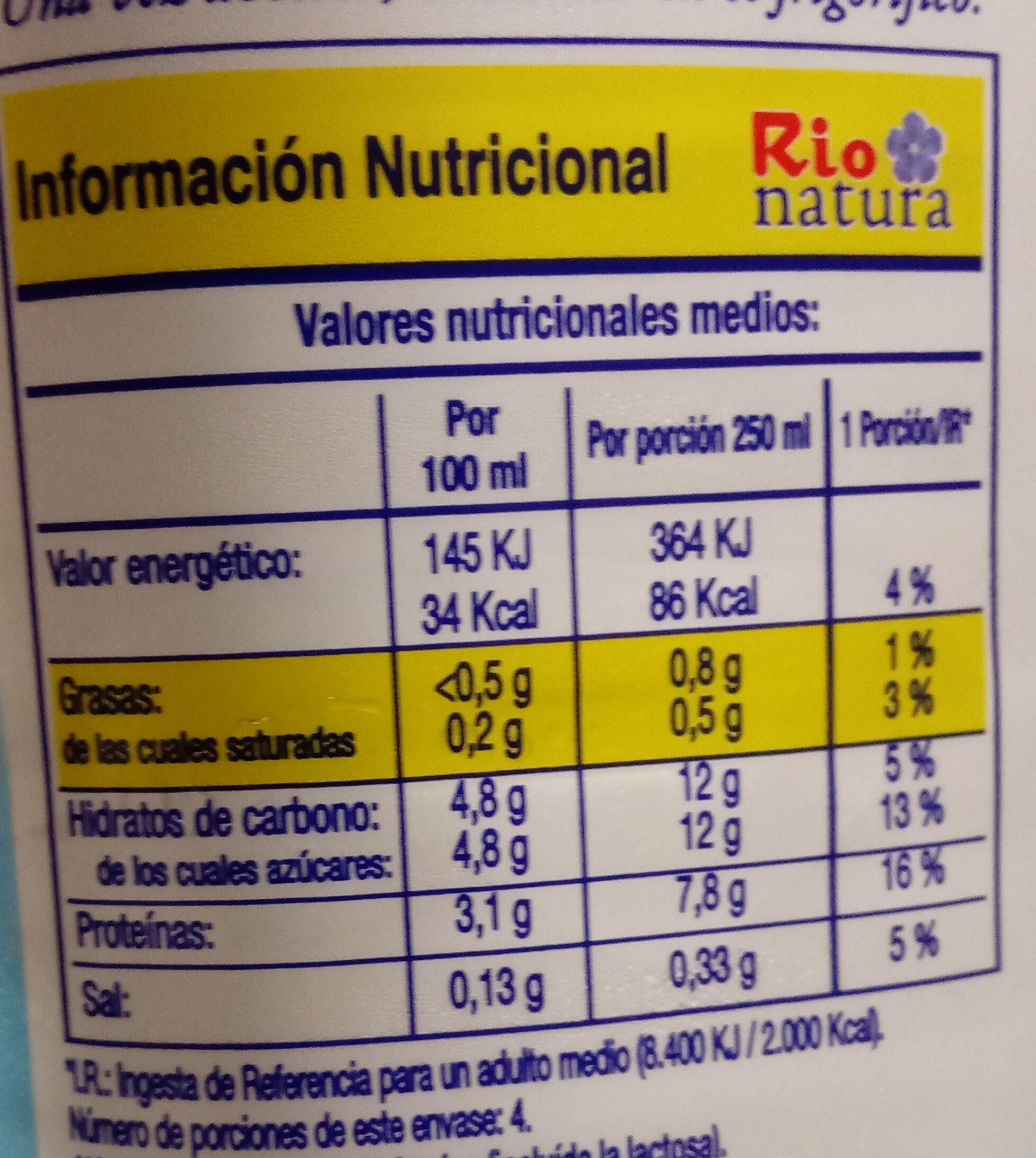 Leche desnatada - Información nutricional - es