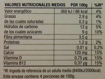 Postre cremoso de almendra - Informació nutricional