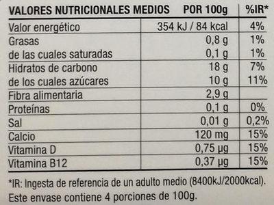 Postre cremoso de arroz - Información nutricional - es