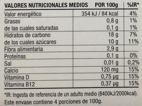 Postre cremoso de arroz - Informació nutricional