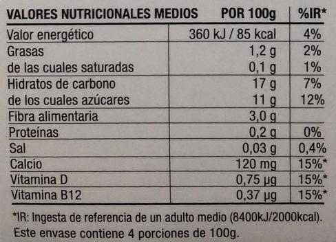 Postre cremoso de avena - Información nutricional