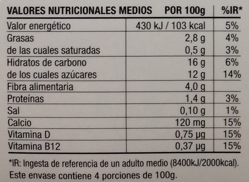 Postre cremoso de almendra Cacao - Información nutricional
