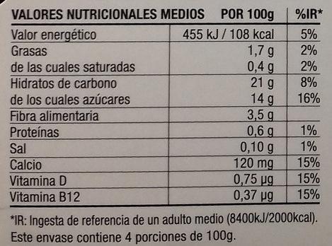 Postre cremoso de avena Cacao - Voedingswaarden - es