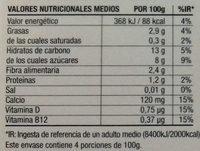 Postre cremoso de almendra Vainilla - Información nutricional