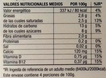 Postre cremoso de coco Piña - Informations nutritionnelles