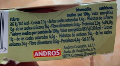 Gourmand pistacho - Informació nutricional