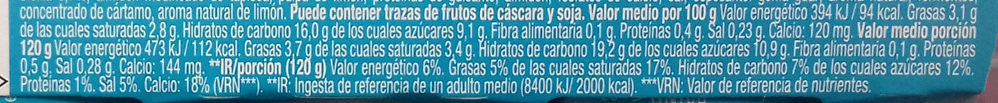 Gourmand & vegetal especialidad vegetal de limón - Nutrition facts - es