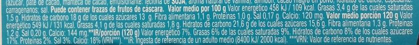Gourmand & Vegetal Con leche de almendra Chocolate - Información nutricional - es