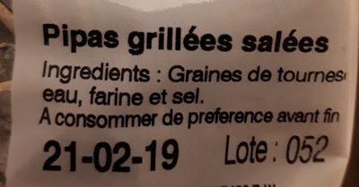 Pipas - Ingredients - fr