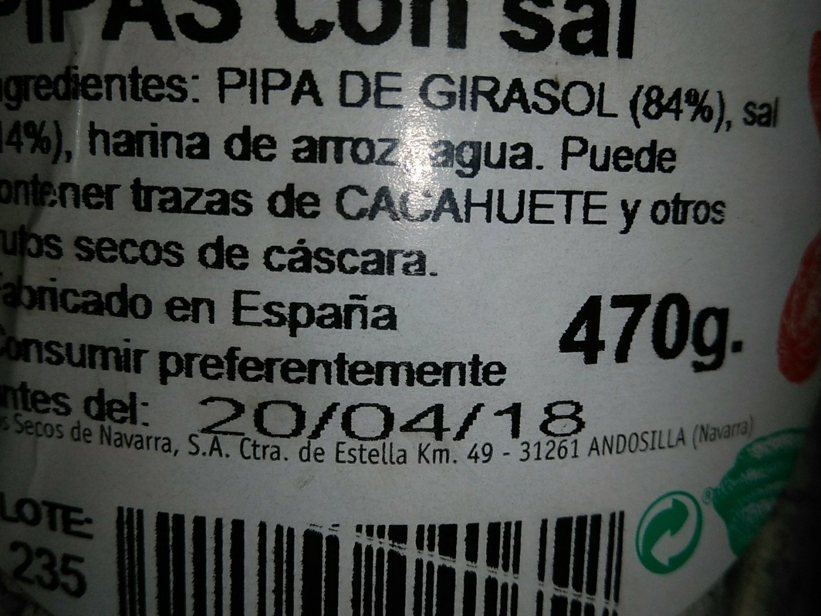 Pipas con sal - Ingredients - fr