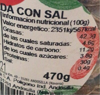 Pipas con sal - Nutrition facts - fr