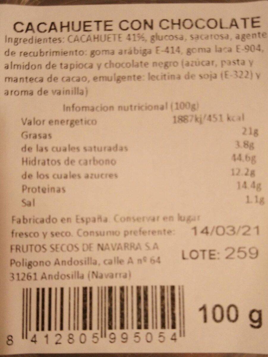 Cacahuete con chocolate - Nutrition facts - es