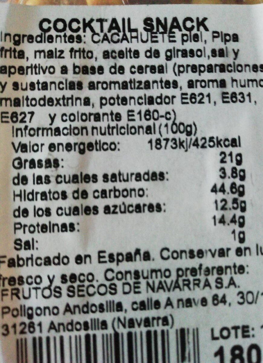 Cocktail snack - Nutrition facts - es