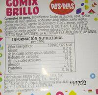 Gomix brillo - Información nutricional - es