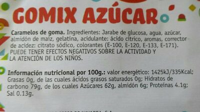 Gomix azúcar - Información nutricional - fr