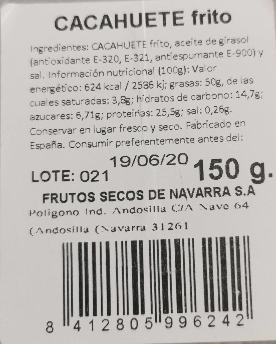 CACAHUETE frito - Nutrition facts - es