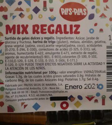 Mix regaliz - Información nutricional - es