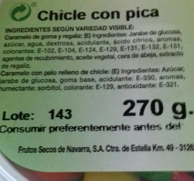 Chicle con pica - Nutrition facts - fr