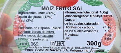Maïs grillés salés Plis Plas pot - Nutrition facts - es