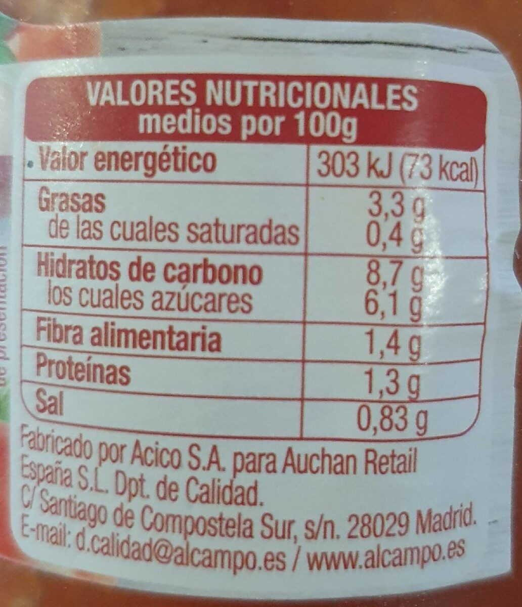 Tomate frito sans gluten - Informations nutritionnelles - fr