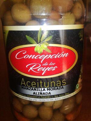 Aceitunas manzanilla morada aliñada