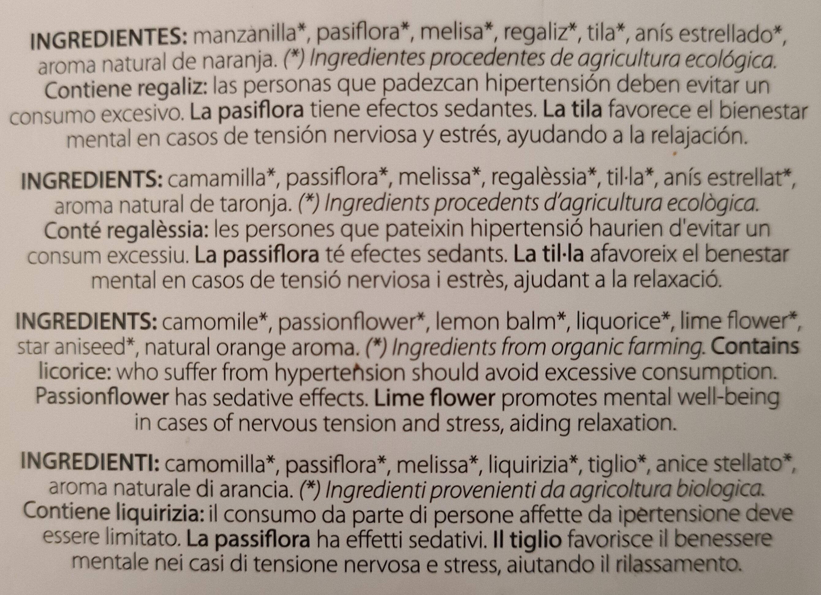 Pausa & Relax - Ingredienti - es