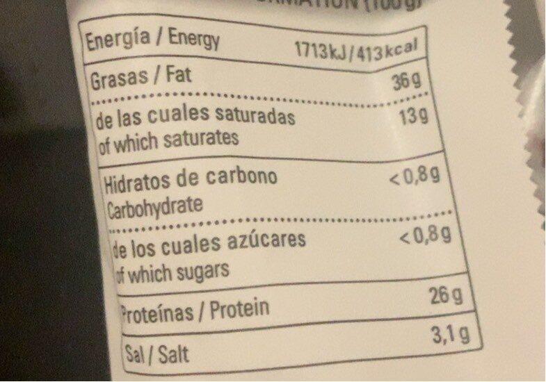 Chorizo de león - Informació nutricional - es