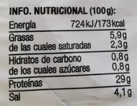 Cecina en mini taquitos - Informations nutritionnelles