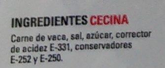 Cecina ligeramente ahumada - Ingredients