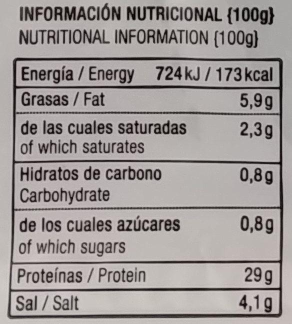 Cecina ligeramente ahumada - Nutrition facts