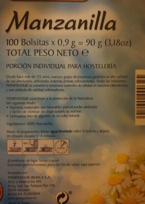 Manzanilla - Voedingswaarden - es