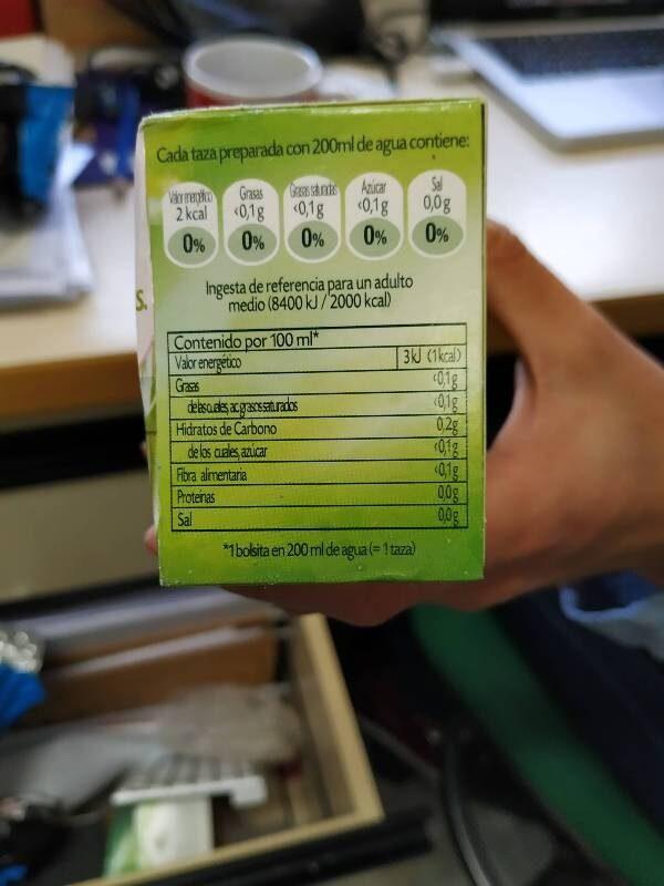 Té verde con menta - Voedingswaarden - es