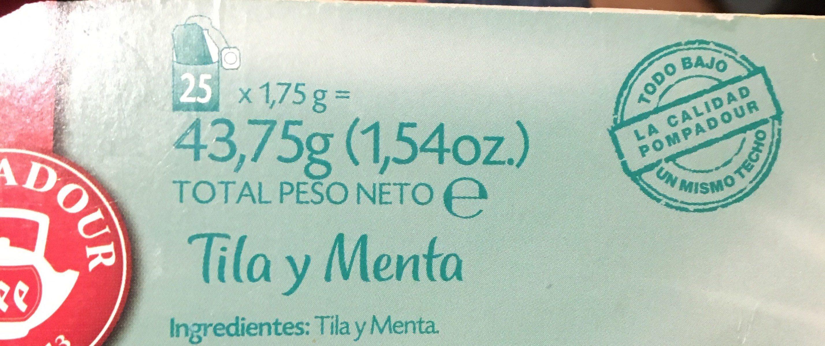 Te Tila y Menta - Ingredientes