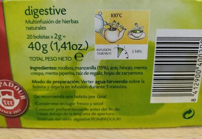 Multinfusión digestive - Voedingswaarden