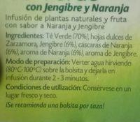 Pompadour Té Verde Con Jengibre y Naranja - Ingrediënten - fr