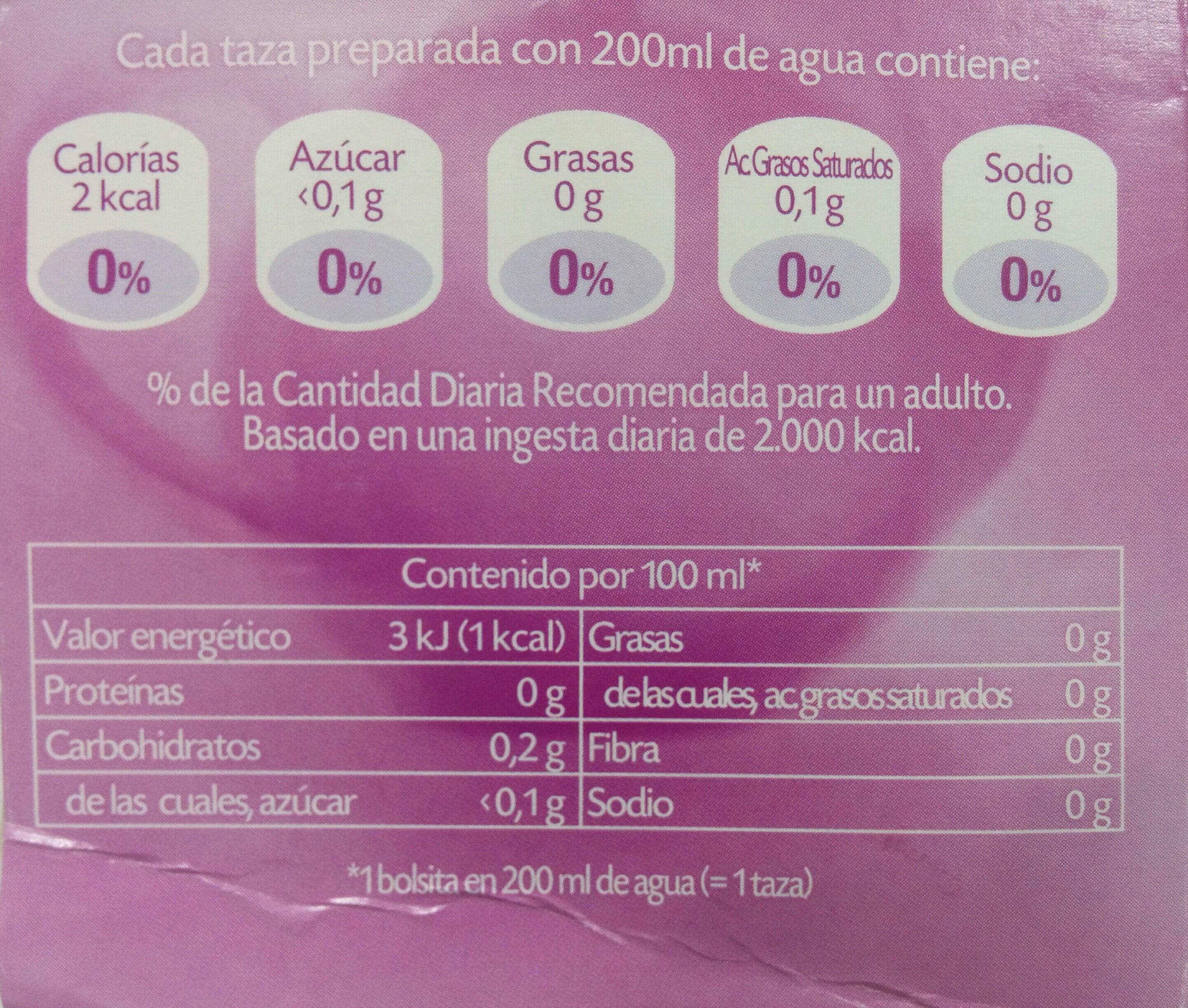 Equinacea plus 5 multinfusión - Voedingswaarden