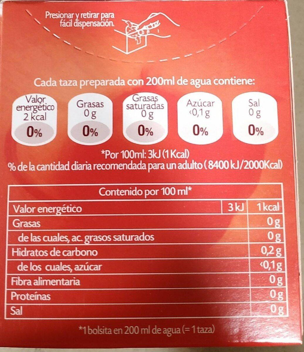 Multinfusión guaraná plus 4 - Voedingswaarden