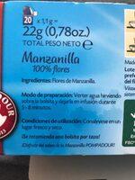 Manzanilla 100 por ciento flores pureza maxima - Ingrediënten