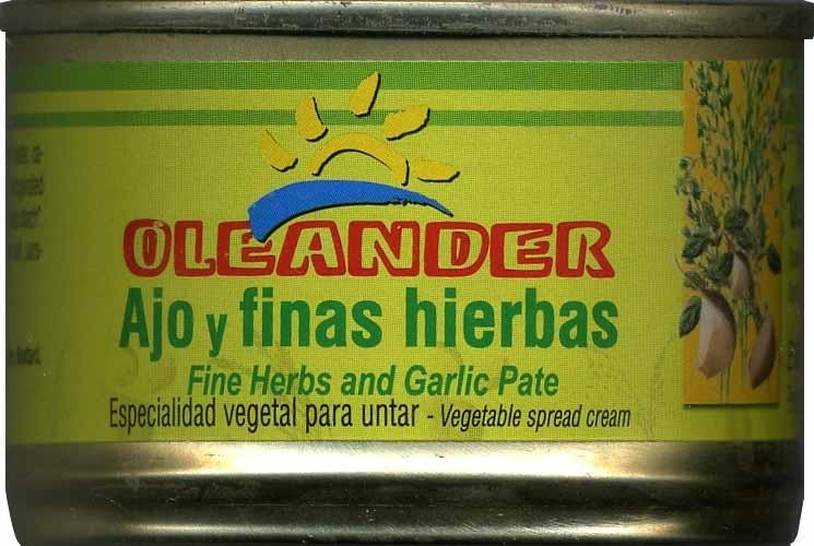 """Paté vegetal ecológico """"Oleander"""" Ajo y finas hierbas - Producte - es"""