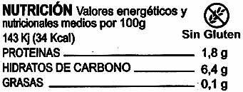 Zanahoria en tiras - Información nutricional