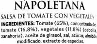 Napoletana - Ingredientes