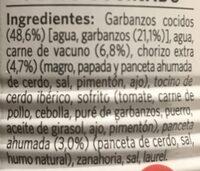 Cocido Madrileño Litoral - Ingrédients