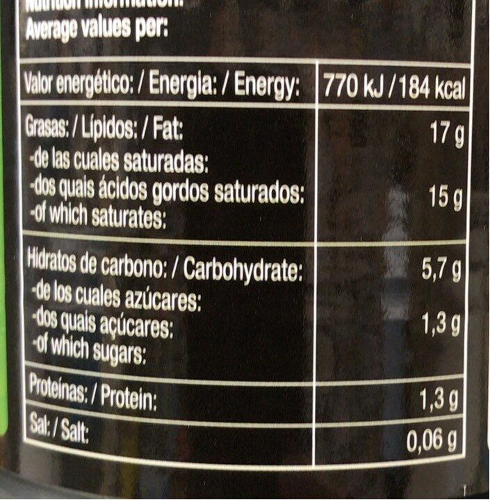 Jugo de coco - Información nutricional - es