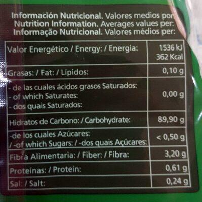 Vermicelli - Información nutricional - es
