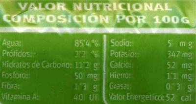 Puerros - Nutrition facts