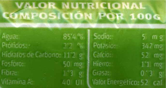 Puertos Tabuenca - Informació nutricional - es